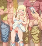 1girl 3boys after_sex after_vaginal bangs bare_shoulders blonde_hair blue_shorts blush bracelet braid breasts cellphone censored collarbone cum cum_on_body cum_on_lower_body green_eyes green_shorts hand_on_another's_shoulder highres holding holding_cellphone holding_phone jewelry lillie_(pokemon) long_hair looking_at_viewer medium_breasts mosaic_censoring multiple_boys necklace nipples panties panties_around_one_leg penis phone pokemon pokemon_(game) pokemon_sm pussy ring shorts skirt skirt_lift standing sweat tears tenako_(mugu77) twin_braids underwear v veins veiny_penis white_footwear white_panties white_skirt