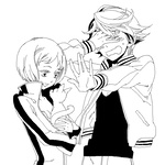 1boy 1girl animal breasts bruce_lee's_jumpsuit cat cleavage closed_eyes covering covering_eyes embarrassed greyscale holding hoshino_lily huang_baoling hug ivan_karelin jacket jumpsuit letterman_jacket monochrome open_clothes open_mouth short_hair simple_background small_breasts tiger_&_bunny unzipped