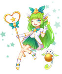1girl alternate_costume animal_ears blue_eyes boots gloves green_hair hair_ornament highres kezi league_of_legends long_hair looking_at_viewer lulu_(league_of_legends) magical_girl one_eye_closed pointy_ears skirt solo staff star star_guardian_lulu yordle