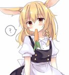 1girl ? animal_ears apron blonde_hair blush braid bunny_ears carrot collared_shirt eating food head_tilt highres kirisame_marisa long_hair looking_at_viewer mouth_hold no_hat no_headwear rbtt shirt side_braid single_braid skirt skirt_set solo touhou vest waist_apron yellow_eyes