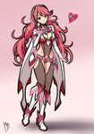 boots breasts cape cleavage cleavage_cutout commentary covered_navel eyebrows_visible_through_hair gloves gradient gradient_background headband heart highleg highleg_leotard highres homura_(xenoblade_2) leotard long_hair long_sleeves looking_at_viewer magnolia-baillon medium_breasts messy_hair pink_background pink_eyes pink_hair prototype twintails very_long_hair white_background white_cape white_footwear xenoblade_(series) xenoblade_2