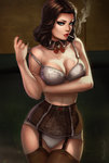 1girl alternate_costume artist_name bare_arms bare_shoulders bioshock bioshock_infinite black_hair blue_eyes bra breast_hold breasts brown_legwear cigarette cleavage closed_mouth collar collarbone contrapposto cowboy_shot curly_hair dandon_fuga detached_collar elizabeth_(bioshock_infinite) eyebrows eyeshadow frills garter_belt garter_straps hand_on_own_arm holding_arm large_breasts lingerie lips lipstick looking_at_viewer makeup mouth_hold nail_polish nose off_shoulder older panties pulled_by_self red_lips red_nails seductive_smile smile smoking solo standing strap_pull thighhighs thimble underwear underwear_only watermark web_address white_bra white_panties