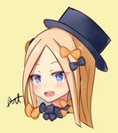 1girl :d abigail_williams_(fate/grand_order) arutone bangs black_bow black_hat blonde_hair blue_eyes blush bow eyebrows_visible_through_hair face fate/grand_order fate_(series) forehead hair_bow hat head highres long_hair looking_at_viewer open_mouth orange_bow parted_bangs polka_dot polka_dot_bow round_teeth signature simple_background smile solo teeth upper_teeth yellow_background