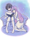 1boy 1girl arm_hug barefoot bed_sheet black_hair blush book commentary couple darling_in_the_franxx eyebrows_visible_through_hair fringe green_eyes highres hiro_(darling_in_the_franxx) holding holding_book long_hair long_sleeves looking_at_another nightgown open_book pajamas pillow pink_hair pride-kun short_hair sitting sleeveless white_pajamas zero_two_(darling_in_the_franxx)