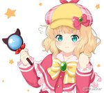 1girl bangs blonde_hair bow brooch cabbie_hat capelet collarbone commentary_request cosplay dress eyebrows_visible_through_hair flying_sweatdrops frilled_capelet frilled_sleeves frills gochuumon_wa_usagi_desu_ka? green_eyes hands_up hat hat_bow holding holding_magnifying_glass jewelry kirima_sharo long_hair long_sleeves looking_at_viewer magnifying_glass miicha pink_headwear plaid plaid_hat red_capelet red_dress sherlock_shellingford sherlock_shellingford_(cosplay) simple_background sleeves_past_wrists solo star starry_background striped striped_bow tantei_opera_milky_holmes twitter_username upper_body white_background yellow_bow