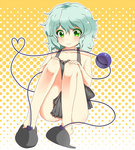 1girl aki_ryu2 ass bare_shoulders blush chemise convenient_censoring eyeball full_body green_eyes green_hair heart heart_of_string komeiji_koishi looking_at_viewer no_hat polka_dot polka_dot_background short_hair sitting sleeveless slippers smile solo string third_eye touhou