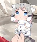1girl :< against_glass animal_ear_fluff animal_ears blue_eyes blush cat_ears chibi elbow_gloves eyebrows_visible_through_hair fur-trimmed_gloves fur_trim glass gloves grey_hair grey_skirt hands highres kemono_friends looking_away looking_up makuran multicolored_hair pallas's_cat_(kemono_friends) photo-referenced scarf shirt short_hair skirt sleeveless sleeveless_shirt solo_focus tareme two-tone_hair white_gloves white_hair white_scarf white_shirt