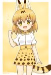 1girl :d adapted_costume artist_name blonde_hair bow bowtie commentary cowboy_shot dated extra_ears highres kemono_friends looking_at_viewer medium_hair open_mouth outline print_bow print_skirt serval_(kemono_friends) serval_print serval_tail shiraha_maru shirt short_sleeves signature simple_background skirt smile solo tail white_outline white_shirt yellow_background yellow_eyes
