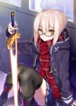 1girl ahoge arm_support black_legwear blonde_hair braid casual checkered_scarf constricted_pupils expressionless fate/grand_order fate_(series) glasses glowing glowing_sword glowing_weapon heroine_x heroine_x_(alter) holding holding_weapon hood hooded_track_jacket indoors jacket looking_at_viewer red_scarf saber scarf semi-rimless_glasses shirako_miso skirt solo sword thighhighs thighs track_jacket weapon window yellow_eyes
