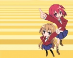 2girls aisaka_taiga arm_up hand_on_hip jitome kushieda_minori lucky_star multiple_girls oohashi_high_school_uniform parody pointing pointing_up school_uniform thighhighs toradora! v wallpaper yellow_background