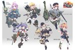 6+girls aav-p7_(personification) ahoge ankle_boots assault_rifle bandaid bangs belt beret bike_shorts bird black_footwear black_hat black_jacket black_legwear black_shorts black_skirt blonde_hair blue_eyes blue_skirt bofors_gun boots bow brown_footwear brown_hair browning_m2 bullet closed_mouth copyright_name cross-laced_footwear dress dress_shirt elbow_gloves emblem fang garrison_cap gloves green_eyes grenade_launcher grey_jacket grey_shirt gun hair_ornament handgun hat headphones highres holding holding_weapon howa_type_89 jacket leg_up leopard_1_(personification) light_smile loafers long_hair long_sleeves looking_at_viewer m110_(howitzer)_(personification) m1911 m19_multiple_gun_motor_carriage_(personification) machine_gun mao_(6r) mecha_musume mg3 midriff military military_jacket miniskirt mk_19 multiple_girls multishot_rocket_launcher official_art open_mouth original pantyhose panzerkampfwagen_iv_(personification) pencil_skirt personification pink_gloves pleated_skirt purple_eyes purple_hair rick_g_earth rifle rocket_launcher sailor_collar scrunchie shirt shoes short_dress short_hair short_ponytail short_shorts short_sleeves shorts skirt sleeveless sleeveless_shirt smile standing thighhighs throat_microphone twintails weapon white_gloves white_legwear white_shirt white_shorts