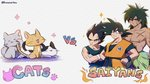 3boys abs animal arms_at_sides black_cat black_eyes black_hair broly_(dragon_ball_super) cat chest chest_scar clothes_around_waist clothes_writing crossed_arms dark_skin dark_skinned_male dougi dragon_ball dragon_ball_super_broly english_text expressionless facial_scar floral_background flower frown gloves grey_cat hands_on_hips height_difference kuroxmitsu_kinako looking_to_the_side male_focus multiple_boys muscle orange_cat pink_flower scar scar_on_cheek serious shadow shirtless simple_background smile son_gokuu sparkle spiked_hair standing text_focus twitter_username upper_body vegeta vs white_background white_cat white_gloves wristband