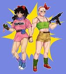 /\/\/\ 2boys abs artist_name bald belt black_eyes black_hair blue_background blush boots bracelet brown_gloves bulma bulma_(cosplay) character_name clothes_writing commentary cosplay dragon_ball dragon_ball_(classic) dress embarrassed facial_scar fanny_pack finger_on_trigger fingernails frown full_body gloves green_legwear gun hair_ribbon hairband highres holding holding_gun holding_hands holding_weapon jewelry long_hair looking_at_another looking_away lunch_(dragon_ball) lunch_(dragon_ball)_(cosplay) male_focus multiple_boys muscle nervous_smile pink_dress ponytail purple_legwear purple_scarf radar red_footwear red_hairband red_ribbon ribbon scar scar_on_cheek scarf shirt shoes short_dress shorts simple_background single_glove sneakers socks spread_legs standing standing_on_one_leg sweatdrop symbol_commentary tank_top tenshinhan thighs third_eye tight tight_shirt veins weapon yamcha yuyurourou02