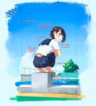 1girl black_hair cloud commentary_request competition_swimsuit day from_behind green_eyes hair_ornament hairclip highres kusakabe_(kusakabeworks) leg_hug looking_at_viewer looking_back one-piece_swimsuit original pleated_skirt pool school_uniform see-through serafuku short_sleeves skirt sky squatting swimsuit swimsuit_under_clothes translation_request water
