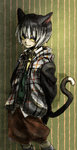 1boy animal_ears binta_(doubutsu_no_mori) black_eyes black_hair cat_ears cat_tail doubutsu_no_mori graphite_(medium) male_focus mechanical_pencil multicolored_hair necktie pencil personification solo solow000 tail traditional_media two-tone_hair upper_body white_hair yellow_sclera