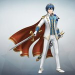 1boy 3d blue_eyes blue_hair falchion_(fire_emblem) fire_emblem fire_emblem:_monshou_no_nazo fire_emblem_musou formal full_body game_model looking_at_viewer male_focus marth official_art simple_background solo suit sword weapon white_suit