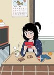 1girl 3: 49s-aragon bangs black_hair book calendar_(object) cup flying_sweatdrops food freckles fruit glasses grey_eyes handheld_game_console hanten_(clothes) horse indoors kotatsu long_sleeves mandarin_orange medium_hair mountain open_book orange original playing_games side_ponytail solo table yunomi