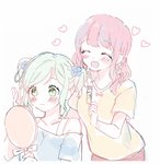 2girls ^_^ alternate_hairstyle aqua_hair bang_dream! bangs blue_flower blue_shirt blush bra_strap closed_eyes collarbone comb eyebrows_visible_through_hair flower green_eyes hair_flower hair_ornament hairdressing hairstyle_switch hana_kon_(17aaammm) hand_mirror hand_up heart highres hikawa_hina holding_comb holding_mirror light_frown maruyama_aya medium_hair mirror multiple_girls off-shoulder_shirt open_mouth pale_color pink_hair shirt short_sleeves side_braids sidelocks sketch smile twintails white_background yellow_shirt