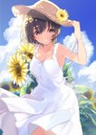 1girl black_eyes blue_sky blush breasts brown_hair cleavage cloud collarbone day dress eyebrows_visible_through_hair flower hair_between_eyes hat hat_flower highres lips looking_at_viewer md5_mismatch medium_breasts original outdoors parted_lips ribbon short_hair sky sleeveless sleeveless_dress smile solo straw_hat summer sun_hat sundress sunflower teeth u35 white_dress white_ribbon wrist_ribbon
