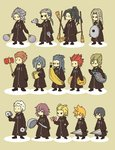 2girls 6+boys >_< antenna_hair axel_(kingdom_hearts) banana black_coat black_hair blonde_hair blue_hair broom brown_hair cd chibi closed_eyes commentary_request demyx dragonfly dual_wielding everyone eyepatch facial_hair facial_mark fan food fruit gloves grey_hair hair_dryer hair_over_one_eye hairlocs kingdom_hearts kingdom_hearts_358/2_days ladle larxene lexaeus lid long_hair luxord marluxia multiple_boys multiple_girls o_o organization_xiii paper_fan pigeon-toed pink_hair pizza ponytail racket red_hair roxas saix sandwich saucepan_lid scar simple_background spiked_hair squeaky_mallet standing t_t tennis_racket uchiwa umbrella vexen weapon xaldin xemnas xigbar xion_(kingdom_hearts) zexion |_|
