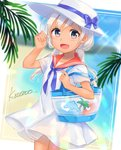 1girl ahoge alternate_costume alternate_hairstyle arm_up bag bangs beach blue_eyes blue_sky blush bow cloud coconut commentary_request day dolphin dress eyebrows_visible_through_hair hair_between_eyes hat heart highres kantai_collection kawagami_raito leaf long_hair looking_at_viewer low_twintails one-piece_tan open_mouth outdoors palm_tree ribbon ro-500_(kantai_collection) sand shoulder_bag sky smile solo tan tanline tree twintails white_dress white_hair white_hat