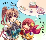 2girls =_= artist_request bachou brown_hair chouhi drooling food koihime_musou multiple_girls red_eyes red_hair saliva translation_request