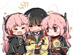 3girls black_hair blush chibi closed_eyes commentary_request eyebrows_visible_through_hair girl_sandwich girls_frontline headset m4_sopmod_ii_(girls_frontline) mod3_(girls_frontline) multiple_girls pink_hair plug_(feng-yushu) red_eyes ro635_(dinergate) ro635_(girls_frontline) sandwiched time_paradox