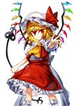 1girl ascot back_bow blonde_hair bow closed_mouth flandre_scarlet frilled_skirt frilled_sleeves frills gem hair_between_eyes hat hat_ribbon highres holding laevatein long_hair looking_at_viewer manarou mob_cap outstretched_arm parody puffy_short_sleeves puffy_sleeves red_eyes red_ribbon red_shirt red_skirt ribbon shirt short_sleeves side_ponytail simple_background skirt skirt_set smile socks solo standing touhou tsurime v-shaped_eyebrows white_background white_bow white_headwear white_legwear wind wings yellow_neckwear