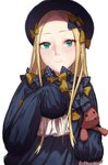 1girl abigail_williams_(fate/grand_order) abigail_williams_(fate/grand_order)_(cosplay) amo_(silent_bomb19) bangs black_bow black_dress black_headwear blonde_hair bow closed_mouth cosplay dress fate/grand_order fate_(series) green_eyes hair_bow hat long_hair long_sleeves looking_at_viewer parted_bangs polka_dot polka_dot_bow simple_background sleeves_past_fingers sleeves_past_wrists smile solo stuffed_animal stuffed_toy teddy_bear too_many_bows white_background yellow_bow