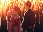 1boy 1girl black_kimono bow brown_hair couple covering_mouth earrings fireworks floral_print from_behind gintama hand_over_own_mouth holding_hands japanese_clothes jewelry kagura_(gintama) kimono long_sleeves looking_up night obi okita_sougo orange_hair outdoors print_kimono red_bow sash short_hair short_ponytail szzz_k white_kimono yukata