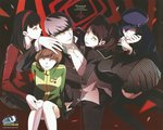 1boy 4girls amagi_yukiko black_hair blue_hair brown_hair copyright_name evil_grin evil_smile grey_hair grin hand_on_another's_head harem hat kujikawa_rise looking_at_viewer multiple_girls narukami_yuu official_art open_collar persona persona_4 persona_4:_the_ultimate_in_mayonaka_arena persona_4:_the_ultimax_ultra_suplex_hold satonaka_chie scan school_uniform shadow_(persona) shirogane_naoto smile sogabe_shuuji thighhighs watermark yellow_eyes