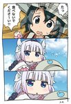 2girls 3koma backpack bag bangs beads black_hair blue_eyes blunt_bangs bucket_hat cloud comic commentary crossover day dragon_girl dragon_horns drooling hair_beads hair_between_eyes hair_ornament hairband hat highres horns kaban kanna_kamui kemono_friends kobayashi-san_chi_no_maidragon kujira_naoto lavender_hair long_hair multiple_girls open_mouth pink_hair red_shirt saliva season_connection shirt short_hair sky translated twintails wavy_hair you_gonna_get_eaten