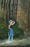 1girl :o alternate_costume arm_up armpit_peek bangs bare_arms black_shirt blue_eyes blue_hair blunt_bangs blush breasts clothes_around_waist collarbone day denim fjsmu forest grass hair_bobbles hair_ornament hand_in_pocket hand_on_own_forehead highres jeans kawashiro_nitori looking_to_the_side looking_up nature no_headwear open_mouth outdoors pants shirt shirt_around_waist sleeveless sleeveless_shirt small_breasts solo standing stream touhou twintails wading