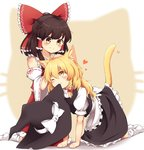 2girls ;) absurdres all_fours animal_ears blonde_hair blush bow brown_eyes brown_hair cat_ears cat_tail chocolate_hair commentary detached_sleeves eyebrows hair_bow hair_tubes hakurei_reimu heart highres kemonomimi_mode kirisame_marisa long_hair lovestruck medium_hair mouth_hold multiple_girls one_eye_closed pet_play petting puffy_short_sleeves puffy_sleeves revision riza_dxun short_sleeves sitting skirt skirt_set smile socks tail touhou vest wariza wavy_hair yellow_eyes yuri