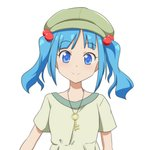 1girl alternate_costume anime_coloring bangs blue_eyes blue_hair blush cabbie_hat cato_(monocatienus) commentary eyebrows_visible_through_hair eyelashes green_headwear green_shirt hair_bobbles hair_ornament hat jewelry kawashiro_nitori key looking_at_viewer pendant shirt short_hair short_sleeves sidelocks simple_background smile solo touhou twintails upper_body white_background
