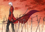 1boy archer bow_(weapon) dark_skin fate/stay_night fate_(series) field_of_blades popoccpo unlimited_blade_works weapon white_hair