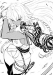 1girl action ahoge aiming boots braid breasts dual_wielding fate/grand_order fate_(series) finger_on_trigger gloves gun highres holding holding_gun holding_sword holding_weapon imizu_(nitro_unknown) lakshmibai_(fate/grand_order) long_braid long_hair medium_breasts monochrome no_bra scabbard serious sheath shell_casing sideboob sketch solo sword thigh_boots thighhighs twin_braids weapon