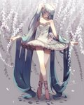 1girl ballerina ballet ballet_slippers bangs bare_legs bare_shoulders blue_hair breasts cleavage closed_eyes collarbone dress flower frills full_body hatsune_miku long_hair nachoz_(natsukichann) rose twintails very_long_hair vocaloid wisteria