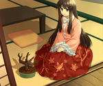1girl bad_id black_hair bonsai grey_eyes houraisan_kaguya jenevan leaf long_hair pillow sitting sleeves_past_wrists smile solo table tatami touhou