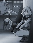 1girl gloves gundam headwear_removed helmet helmet_removed highres mecha mobile_suit_gundam monochrome pilot_suit sayla_mass short_hair short_sleeves solo squatting suzushiro_(suzushiro333)