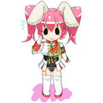 1girl animal_ears armband blush bunny_ears chibi chiester45 commentary_request flying_sweatdrops kasumisometsuki open_mouth pink_hair short_hair showgirl_skirt solid_circle_eyes solo thighhighs twintails umineko_no_naku_koro_ni