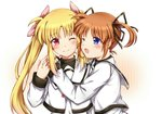 2girls black_ribbon blonde_hair blue_eyes blush brown_hair couple eye_contact fate_testarossa hair_ornament hair_ribbon happy hug long_hair looking_at_another lyrical_nanoha mahou_shoujo_lyrical_nanoha mahou_shoujo_lyrical_nanoha_a's mikasa-01 multiple_girls neck_ribbon one_eye_closed open_mouth pink_ribbon red_eyes red_ribbon ribbon school_uniform short_hair short_twintails simple_background smile takamachi_nanoha tongue twintails two-tone_background uniform yuri