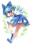 1girl :d bent_over blue_eyes blue_hair bow cirno hair_bow hair_ribbon ice ice_wings looking_at_viewer mary_janes open_mouth ribbon shoes short_hair smile solo touhou uruha_(yw1109) v v-shaped_eyebrows wings
