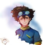 1boy baiyishaonian_huam brown_eyes brown_hair chibi_inset digimon digimon_adventure goggles solo yagami_taichi