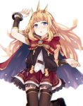 1girl :o black_legwear blonde_hair blush bow bracelet bracer cagliostro_(granblue_fantasy) cape chromatic_aberration granblue_fantasy hairband hashigo jewelry long_hair open_mouth purple_eyes red_skirt skirt solo thighhighs zettai_ryouiki