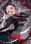 1girl :d bangs black_dress blonde_hair blood blush bow breasts commentary dress eyebrows_visible_through_hair fangs frilled_dress frills gothic_lolita head_tilt highres lolita_fashion long_hair looking_at_viewer open_mouth overlord_(maruyama) ponytail red_eyes shalltear_bloodfallen sidelocks silver_hair slit_pupils smile solo sunako_(veera) tsurime twitter_username two-tone_dress vampire very_long_hair