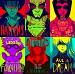 ! 3boys 3girls ? animal artist_name beard blood blush_stickers character_name cigarette covered_eyes cowboy_bebop dog dripping edward_wong_hau_pepelu_tivrusky_iv english facial_hair faye_valentine goggles grin hair_over_eyes hair_slicked_back hairband jacket jet_black julia_(cowboy_bebop) limited_palette lips long_hair looking_at_viewer mouth_hold multiple_boys multiple_girls necktie omocat portrait short_hair simple_background smile spike_spiegel sunglasses text_focus vicious_(cowboy_bebop)