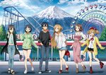 1boy 5girls :d amusement_park arms_behind_back asada_shino asuna_(sao) black_eyes black_footwear black_hair black_legwear black_shirt black_skirt blue_eyes blue_pants blue_shirt blue_shorts blue_skirt boots bracelet brown_eyes brown_footwear brown_hair cardigan casual clenched_hand dress ferris_wheel floating_hair glasses green_sweater hair_ornament hair_ribbon hairclip hand_on_hip hands_in_pocket hat highres hood hood_down hooded_sweater jewelry kirigaya_suguha kirito leaning_forward lens_flare lisbeth long_dress long_hair long_sleeves looking_at_viewer miniskirt mount_fuji multiple_girls necklace off-shoulder_shirt off_shoulder official_art one-eyed open_cardigan open_clothes open_mouth pants pencil_skirt pinafore_dress pink_dress pleated_skirt red_footwear red_headwear ribbed_sweater ribbon roller_coaster see-through shiny shiny_hair shirt shoes short_hair short_shorts short_sleeves shorts silica skirt smile sneakers socks sweater sword_art_online torn_clothes torn_pants very_long_hair white_footwear white_ribbon white_shirt white_sweater yellow_cardigan yellow_ribbon