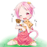 1girl animal_ears cat cat_ears cat_hair_ornament cat_tail doll_hug dress hair_ornament highres makuran one_eye_closed open_mouth original pink_dress pink_eyes pink_hair sitting smile solo stuffed_animal stuffed_cat stuffed_toy tail wariza