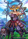 1boy armor armored_boots boots brown_eyes brown_hair cherokee_(1021tonii) cloud company_name day grass hat japanese_armor leaf motoyama_chikashige mountain original polearm sengoku_taisen sky sode solo straw_hat teeth trident watermark weapon